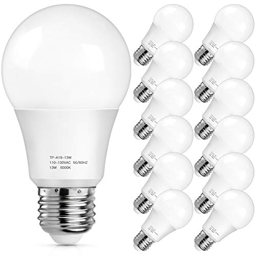 A19 LED Light Bulbs 1500 Lumens, 100-125 Watt Equivalent LED Bulbs, 5000K Daylight White 13-Watt, Standard E26 Medium Screw Base, Non-Dimmable, No Flicker, Pack of 12