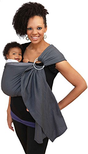 Maya Wrap Lightly Padded Ring Sling | Ergonomic Baby Carrier | Integrated Pocket | Lightweight, Breathable Cotton | Graphite (Large)