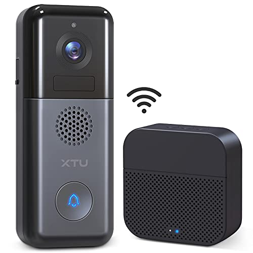 WiFi Video Doorbell Camera, XTU 2K Resolution Wireless Doorbell Camera with Wireless Chime, No Monthly Fees, 2-Way Audio, Motion Detection, Support Local/Cloud Storage