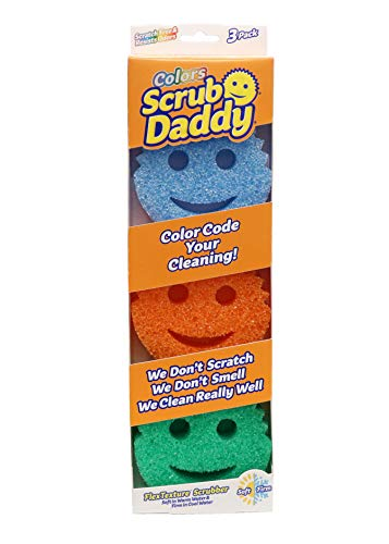 Scrub Daddy Colors - FlexTexture Sponge, Soft in Warm Water, Firm in Cold, Deep Cleaning, Dishwasher Safe, Multi-use, Scratch Free, Odor Resistant, Functional, Ergonomic, 3ct
