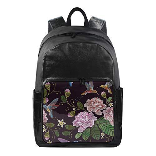 Women/Men Canvas Backpack Rose HummingbirdsTravel Laptop Shoulder Bag Waterproof Computer Back Pack Daypack
