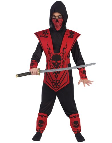 Fun World Skull Lord Ninja Costume, Large 12 - 14, Multicolor