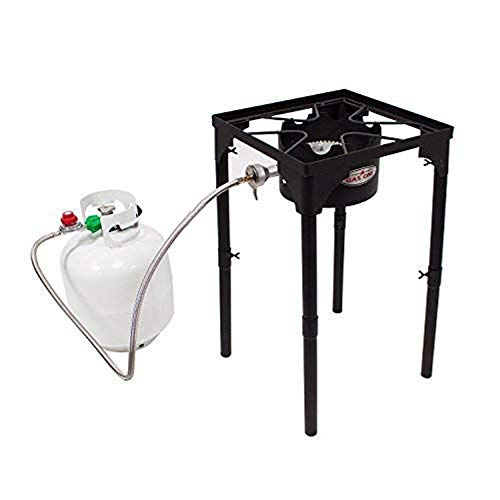GasOne Portable Propane 100, 000-BTU High Pressure Single Burner Camp Stove & Steel Braided Regulator with Adjustable Legs Perfect for Brewing, Boiling Sap & Maple Syrup Prep, Model:
