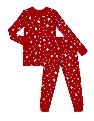 Skylar Luna Boys Pajamas Girls Pajamas Long Sleeves- Organic Cotton Pajamas- Size 8- Red Star