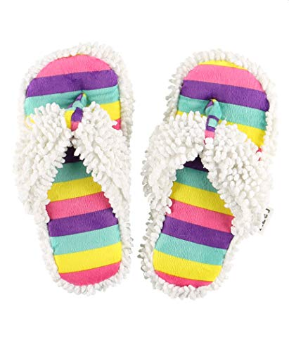 Lazy One Spa Flip-Flop Slippers for Women, Girls' Fuzzy House Slippers, Rainbow (Large/X-Large)