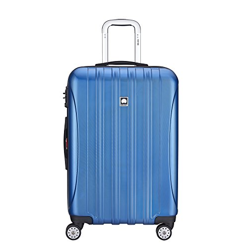 DELSEY Paris Helium Aero Hardside Expandable Luggage with Spinner Wheels, Blue Textured, Checked-Medium 25 Inch