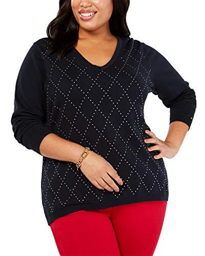Tommy Hilfiger Womens Studded Argyle Sweater Navy 3X