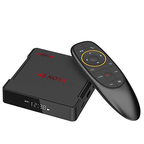 Magicsee N5 NOVA TV Box 4GB 64GB Android 9.0 Rockchip RK3318 Quad Core 64bit Dual WiFi 2.4G/5G BT4.0 4K UHD Streaming Mini Box with Air Mouse Voice Remote