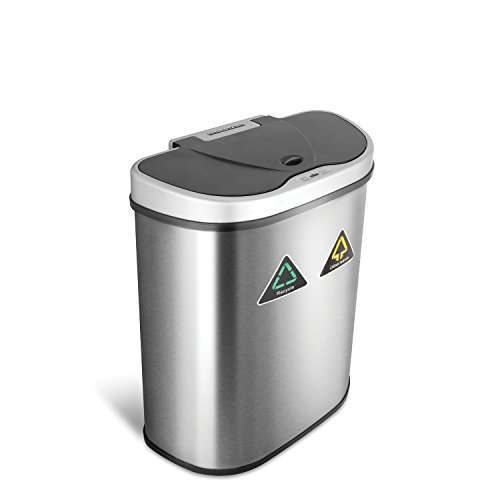 NINESTARS Automatic Touchless Infrared Motion Sensor Trash Can/Recycler with D Shape Silver/Black Lid & Stainless Base, 18 Gal, Stainless Steel