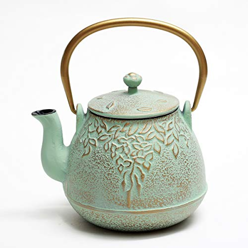 Tea Kettle, TOPTIER Japanese Cast Iron Teapot with Stainless Steel Infuser, Cast Iron Tea Kettle Stovetop Safe, Leaf Design Teapot Coated with Enameled Interior for 32 Ounce (950 ml), Light Green