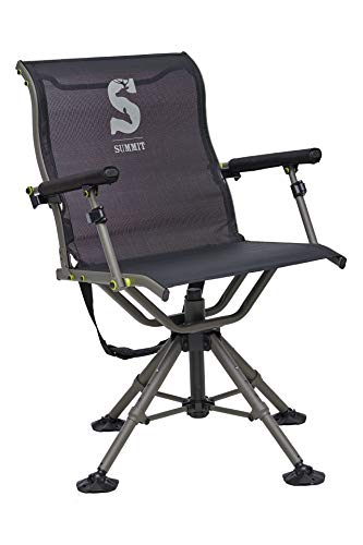 Summit Treestands Shooting Chair | Ideal for Hunting Blinds | Wide Feet for Uneven Ground or Mud, Black (SU88023)