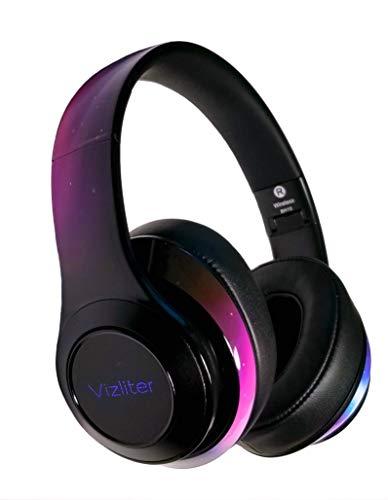 Vizliter Bluetooth Headphones, TWS Deep Bass Wireless Headphones 5.0 with Built-in Mic Soft Earmuffs LED Lights, Smart Phones, PC, TV, Travel, Gym Workout, Gaming, Noise Cancelling (Stardust)