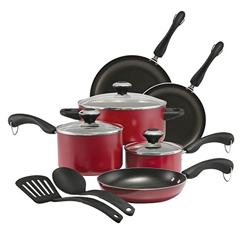 Paula Deen Signature Dishwasher Safe Nonstick Cookware Pots and Pans Set, 11 Piece, Red