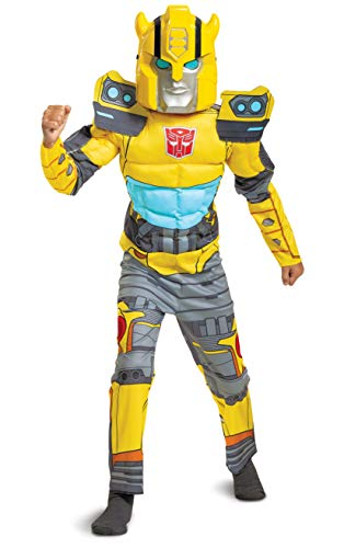 Bumblebee Costume, Muscle Transformer Costumes for Boys, Padded Character Jumpsuit, Kids Size Medium (7-8) Yellow