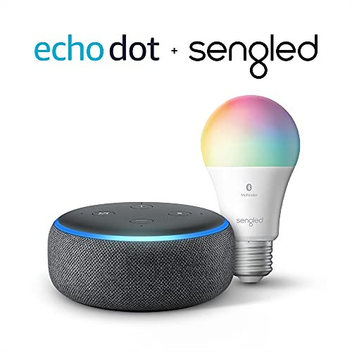 Echo Dot (3rd Gen) - Smart speaker with Alexa - Charcoal with Sengled Bluetooth Color bulb