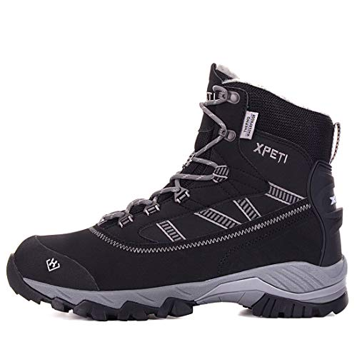 XPETI Men's Oslo Winter Snow Insulated Mid-Rise Waterproof Hiking Warm Fur Lining Boots