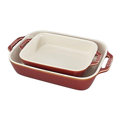 STAUB Ceramics Rectangular Baking Dish Set, 2-piece, Rustic Red