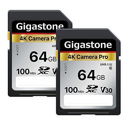 Gigastone 64GB 2-Pack SD Card V30 SDXC Memory Card High Speed 4K Ultra HD UHD Video Compatible with Canon Nikon Sony Pentax Kodak Olympus Panasonic Digital Camera