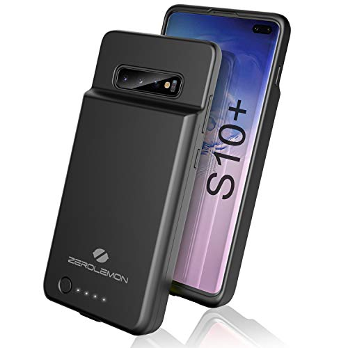 ZeroLemon Galaxy S10 Plus Battery Case, 5000mAh Extended Rechargeable Battery with Soft TPU Protective Portable Case for Galaxy S10 Plus - Black