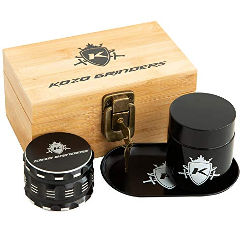 Kozo Wood Stash Box Combo Kit with Aluminium 2.5' Herb Grinder, Rolling Tray, Locking Smell Proof Jar with Airtight Seal and a Lock With Keys. A Padded Wooden Box Set with The Accessories You Need!