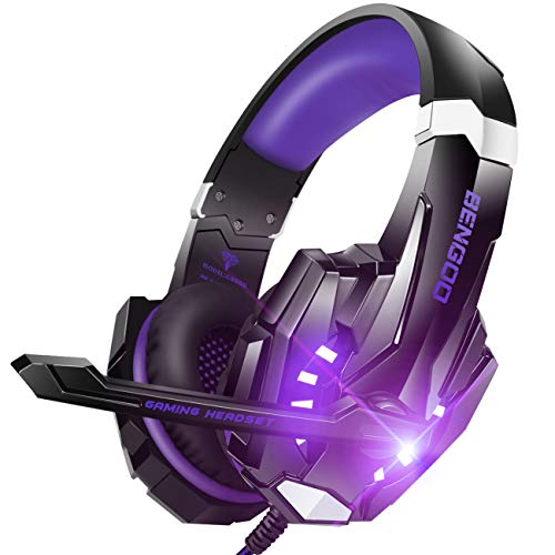 BENGOO G9000 Stereo Gaming Headset for PS4, PC, Xbox One Controller, Noise Cancelling Over Ear Headphones with Mic, LED Light, Bass Surround, Soft Memory Earmuffs (Purple)