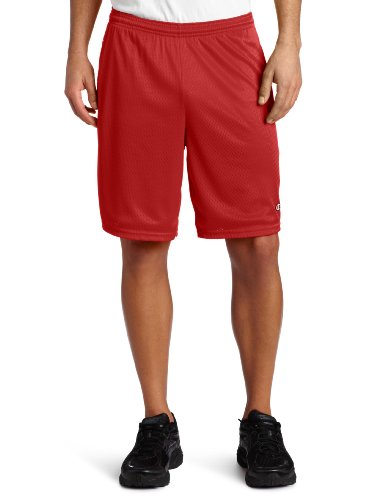 Champion Mens Long Mesh Shorts with Pockets, S162, XL, Champion Scarlet