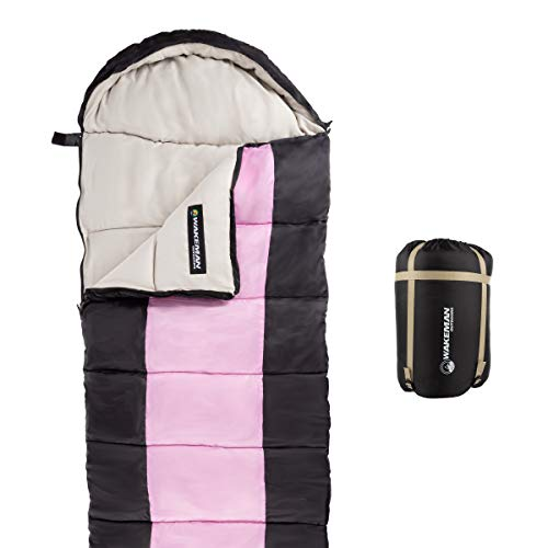 Wakeman Outdoors Sleeping Bag – 35F Rated 3 Season Envelope Style with Hood for Outdoor Camping, Backpacking and Hiking with Carry Bag (Pink/Black)
