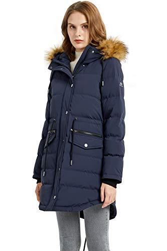 Orolay Women's Fleece Lined Down Parka Hooded Winter Coat Drawstring Puffer Jacket Mood Indigo M