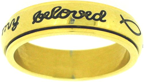 Solid Rock Jewelry Stainless Steel Gold I Will Wait for My Beloved Christian Purity Spin Ring Style 362-SIZE 5