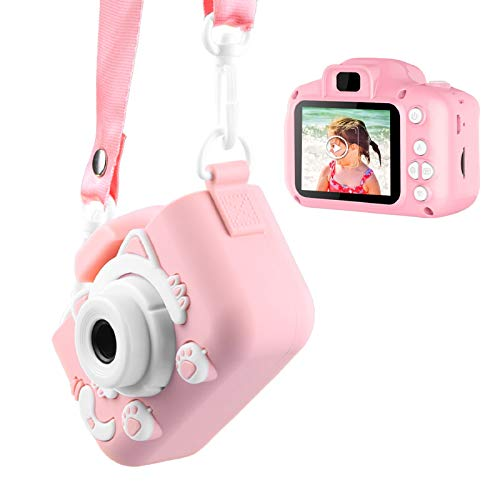 Enouvos Kid Cameras Girls Boys Best Gifts Pink Camera Upgrade HD 2.0 Inches Screen Kids Video Camera Anti-Drop Children Toy Camera Mini Cartoon Child Camcorder for 3-14-Year-Old (Pink)