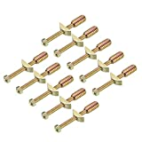 uxcell 10 Sets Furniture Hardware Zinc Plated Half-Moon Nut Connecting Fitting Bronze Tone