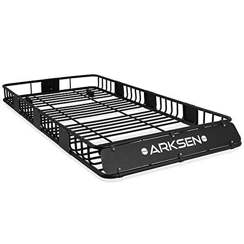 ARKSEN 84'x 39'x 6' Universal Roof Rack Cargo Extension Car Top Luggage Holder Carrier Basket SUV Camping, Black