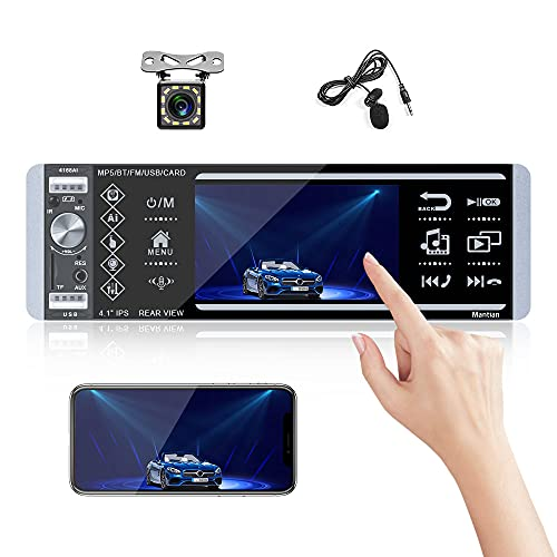 Single Din Touch Screen Car Stereo with Bluetooth Car Audio System FM Radio Receiver with External Microphone, Dual USB/MP3/Aux-in + Backup Camera