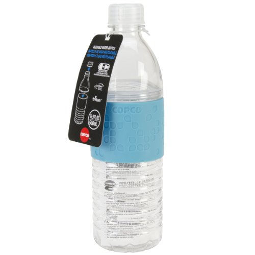 Copco Hydra Reusable Tritan Water Bottle with Spill Resistant Lid and Non-Slip Sleeve, 16.9-Ounce, Light Blue