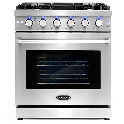 Cosmo COS-EPGR304 Slide-In Freestanding Gas Range with 5 Sealed Burners, Cast Iron Grates, 4.5 cu. ft. Capacity Convection Oven