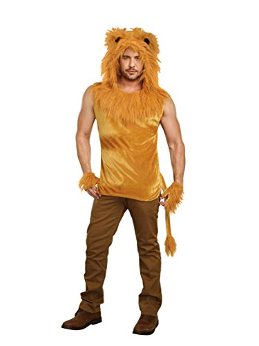 Dreamgirl Men's King of The Jungle Lion Costume Shirt, brown, X-Large
