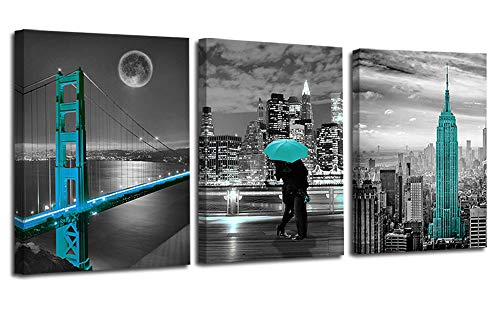 Ardemy Canvas Wall Art Cityscape Teal Painting Golden Gate Bridge New York City Pictures, 12'x16' x3 Panels Modern Romantic Artwork Framed for Bedroom Living Room Kitchen Wall Decor