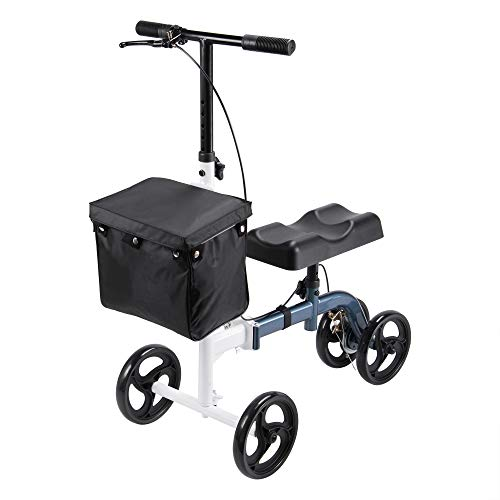 AW Heavy Duty Medical Steerable Knee Scooter Leg Walker Compact Crutches Alternative with Dual Braking System for Foot Injuries