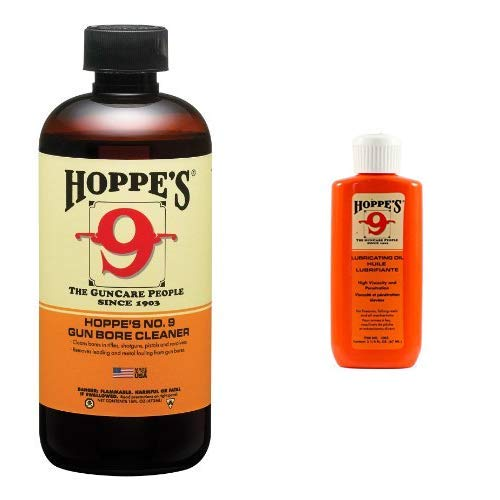 Hoppe's No. 9 Gun Bore Cleaner, 16 oz. Bottle AND Hoppe's No. 9 Lubricating Oil, 2-1/4 oz. Bottle