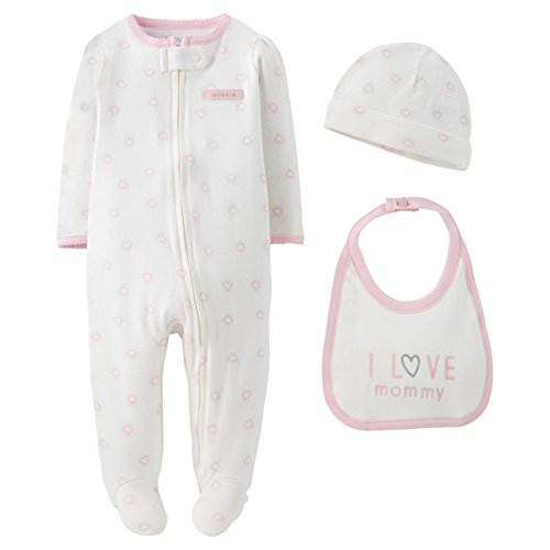 Carter's Precious Firsts Baby Girls' 3 Piece Sleep N' Play Set - Hearts (Newborn) Pink
