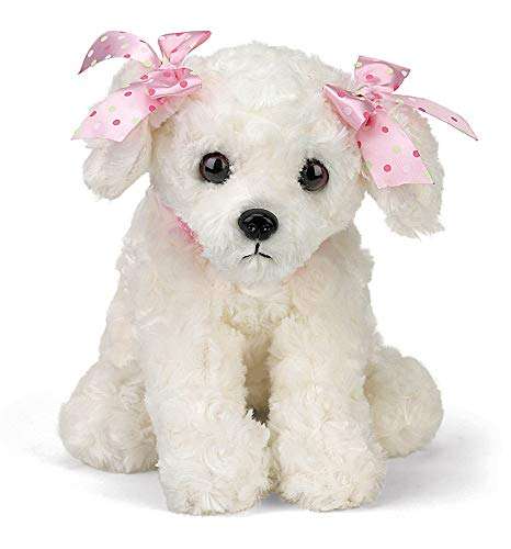 Bearington Sassy Plush Stuffed Animal White Puppy Dog 13""