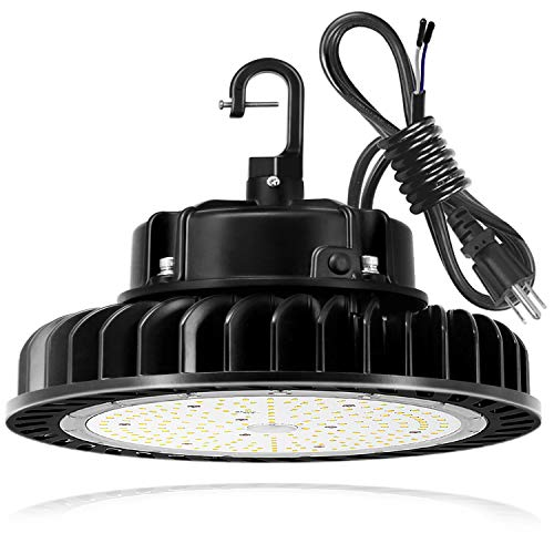250W UFO LED High Bay Light Fixture, 35000lm 1-10V Dimmable 5000K 5' Cable with US Plug [750W/1000W MH/HPS Equiv.] Commercial Warehouse/Workshop/Wet Location Area Light