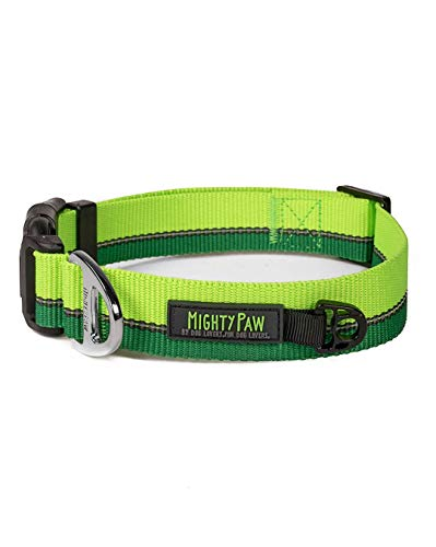 Mighty Paw Reflective Dog Collar   Premium High Visibility Collar with Reflective Stitching. Weatherproof, Heavy Duty Hardware, Stylish Colors and Design. Perfect for Small and Large Pets (Green)