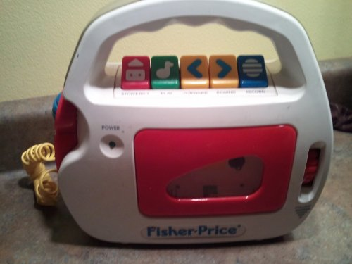 2002 Fisher-Price, Inc. A Subsidiary Of Mattel, Inc. Mattel Fisher-Price Tuff Stuff Portable Microphone Cassette Tape Player Recorder with Wired Microphone #B0334 (Yellow/Purple/Red/Green/Orange Color Version)