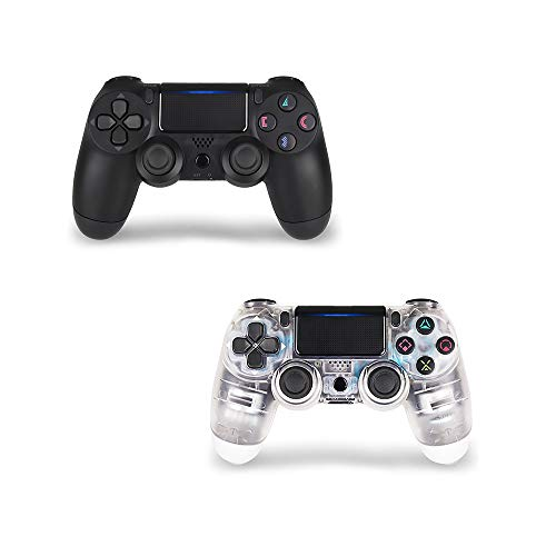 Wireless Controller for PS4 2 Pack, PS4 Gamepad for PS4-TATECH Wireless Controller for Playstation 4, 3rd-Party Works (Transparent White + Black 2 pack)