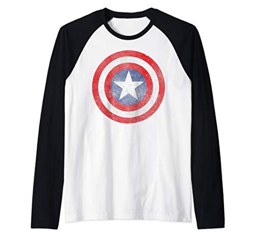 Marvel Captain America Classic Shield Portrait Raglan Baseball Tee