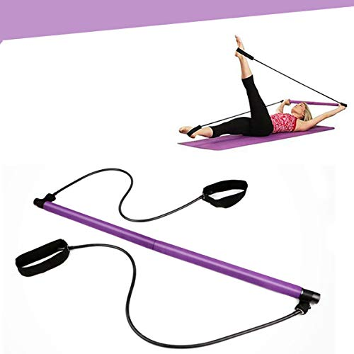 Pilates Bar Kit with Resistance Band, Portable Home Gym Workout Package,Resistance Band and Toning Bar Yoga Pilates Stick Yoga Exercise Bar with Foot Loop for Total Body Workout (Purple)
