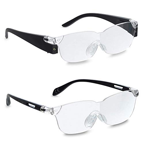 Zoom Vision Plus 160% Lighted Magnifying Glasses with LED lights for Men and Women - Great Eyeglasses for Reading Small Prints, Labels, Prescription Bottles, Close Work and Hobbies (2pc Set)