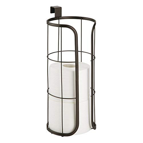 mDesign Modern Over the Tank Hanging Toilet Tissue Paper Roll Holder and Reserve for Bathroom Storage - Stores 3 Extra Rolls, Holds Jumbo-Sized Rolls - Durable Metal Wire - Bronze