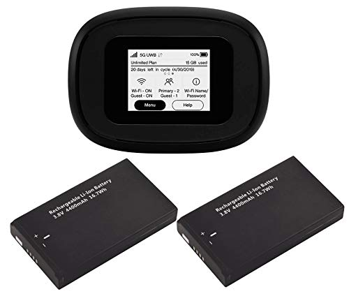 C5G Bundle | Inseego Verizon 5G and 4G LTE MiFi M1000 Hotspot Bundled with 2 Batteries (1 Stock + 1 Extra) | Connect up to 15 WiFi Devices and 1 Wired | Great for Remote Workers Wi-Fi 2.4 GHz & 5 GHz